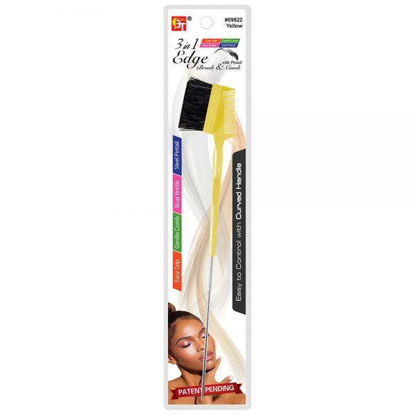 3 in 1 Edge Brush & Comb with Pintail-Easy Grip Handle